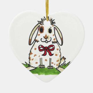 Chubby bunny 'Mini' Design Ceramic Heart Decoration