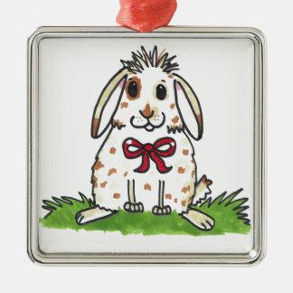 Chubby bunny 'Mini' Design Silver-Colored Square Decoration