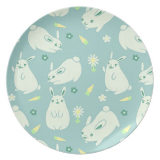 Chubby Bunny Pattern Party Plates