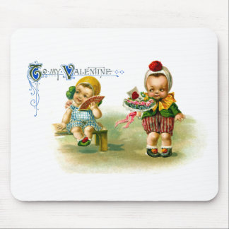 Chubby Cheeked Kids Vintage Valentine Mouse Pad
