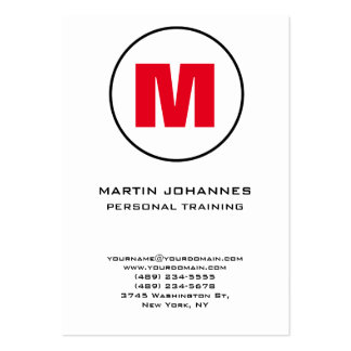 Chubby Circle Monogram White Red Personal Trainer Pack Of Chubby Business Cards