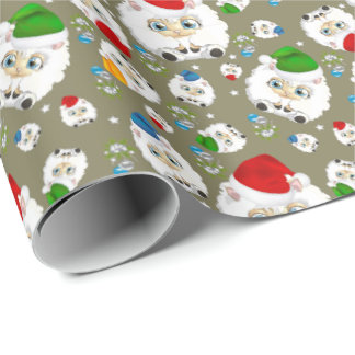 Chubby Cute Christmas Sheep Wrapping Paper