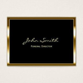 Chubby Gold Border Funeral Business Card