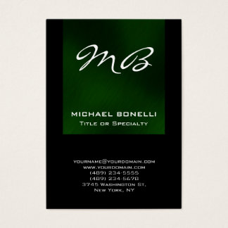 Chubby green black monogram unique business card