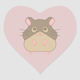Chubby Hamster Heart Sticker