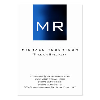 Chubby Large Monogram White Blue Business Card