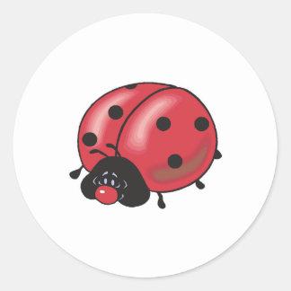 chubby little ladybug round sticker