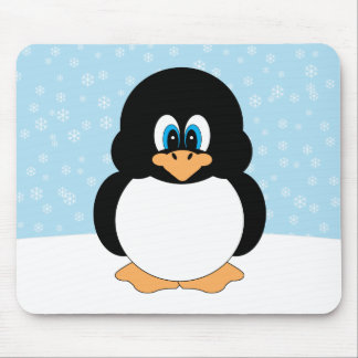 Chubby Penguin with Snowflakes Mousepad