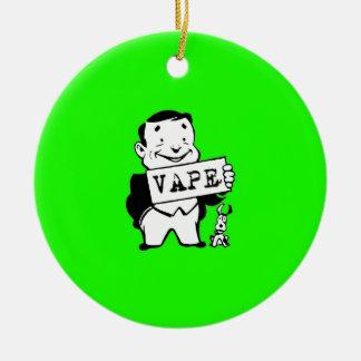 Chubby Retro Man Vape Green Round Ceramic Decoration