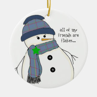 Chubby Snowman with Saying Round Ceramic Decoration