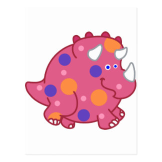 Chubby Triceratops Cartoon Dinosaur Postcard