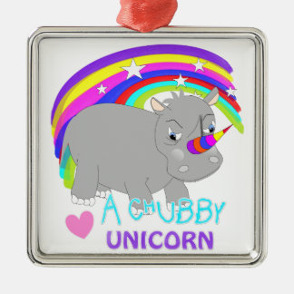 Chubby Unicorn Cute Rainbow Fantasy Fun Christmas Ornament