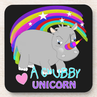 Chubby Unicorn Cute Rainbow Fantasy Fun Coaster