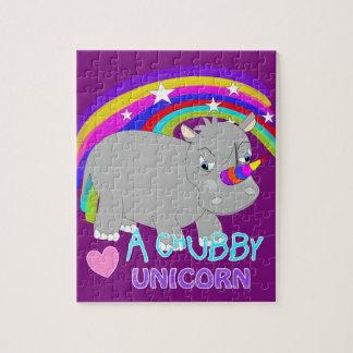 Chubby Unicorn Cute Rainbow Fantasy Fun Jigsaw Puzzle