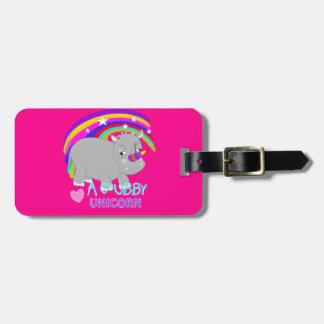 Chubby Unicorn Cute Rainbow Fantasy Fun Luggage Tag