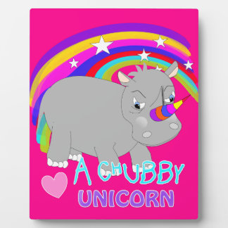 Chubby Unicorn Cute Rainbow Fantasy Fun Plaque