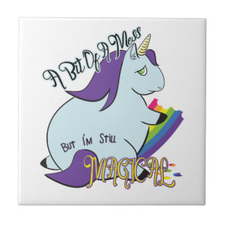 Chubby Unicorn Eating a Rainbow - A Magical Mess Tile