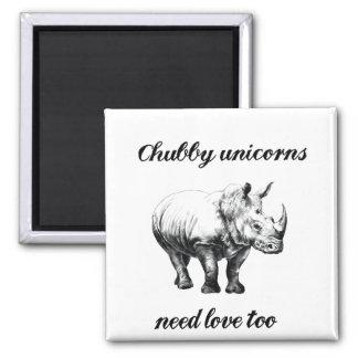 Chubby unicorns need love hilarious rhino fridge magnet