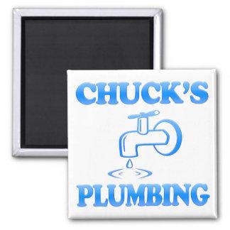 Chuck's Plumbing Square Magnet