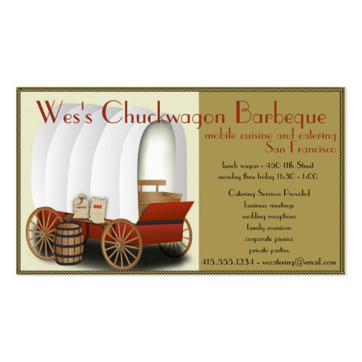 Chuckwagon Food Truck/Catering Business Business Card Template