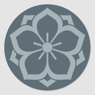 Chuinyaekikyo Japanese Kamon Cherry Blossom Blue Classic Round Sticker