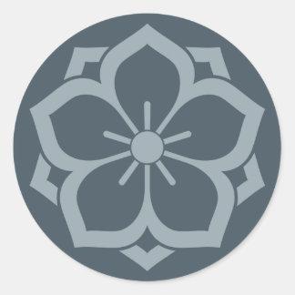 Chuinyaekikyo Japanese Kamon Cherry Blossom Blue Round Sticker