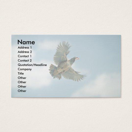 Chukar partridge in flight business card