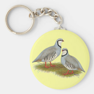 Chukar Partridge Pair Basic Round Button Key Ring