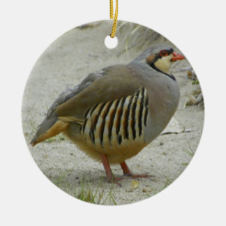 Chukar Partridge Round Ceramic Decoration