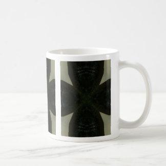 Chunky black cross on light green basic white mug