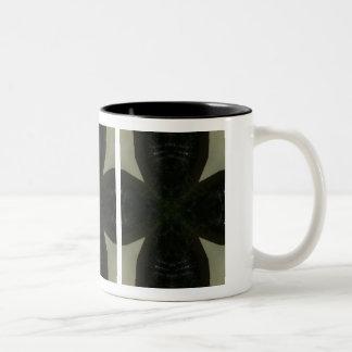 Chunky black cross on light green Two-Tone mug