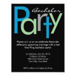 Chunky Block Blue Black Bachelor Party Invitation