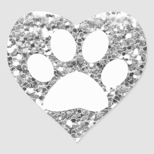 chunky faux silver glitter and white pet paw