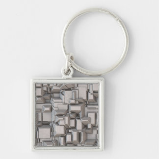 Chunky Heavy Metal Cubes Silver-Colored Square Key Ring