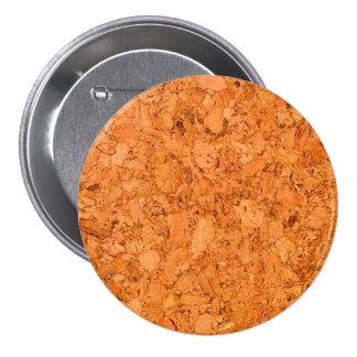 Chunky Natural Cork Wood Grain Look 7.5 Cm Round Badge
