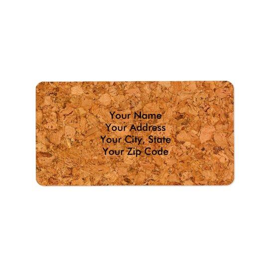 Chunky Natural Cork Wood Grain Look Address Label