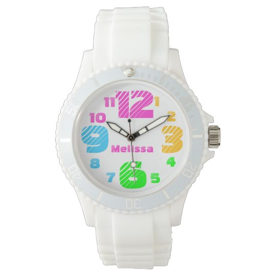 Chunky Neon Numbers Women's White Watch
