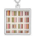 Church Accommodation, Statistical US Lithograph Silver Plated Necklace