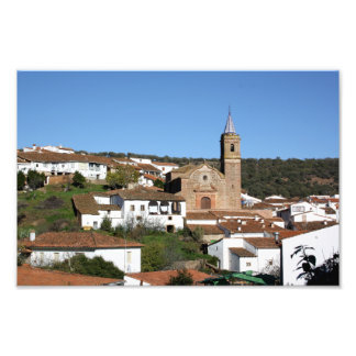Church and historical helmet of Valdelarco, Huelva Photo Print
