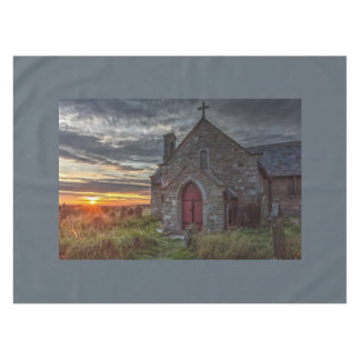Church at sunset tablecloth