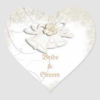 Church bells n floral wedding white heart sticker