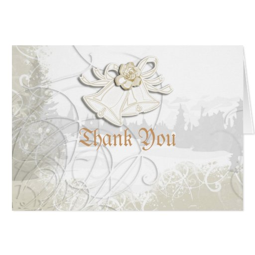 Church bells n floral wedding white note card