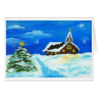 Church Christmas Tree Landscape Art Snow Stars Card