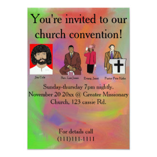 Church convention 11 cm x 16 cm invitation card