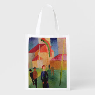 Church Decorated with Flags Reusable Grocery Bag