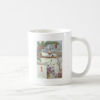 Church Evergreen Bough Pinecone Violets Basic White Mug