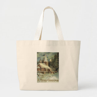 Church Evergreen Stars Winter Snow Jumbo Tote Bag