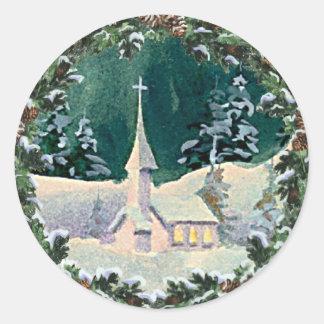 CHURCH & FIR WREATH by SHARON SHARPE Round Sticker