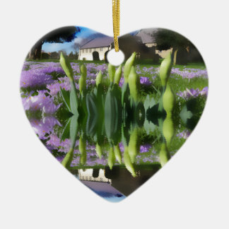 Church flowers in reflection ceramic heart decoration