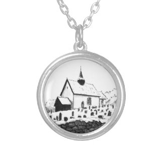 church & graveyard in winter ink landscape drawing round pendant necklace